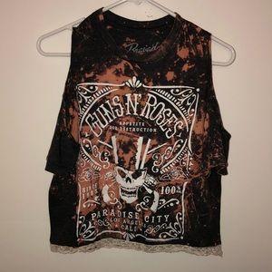 Guns N Roses Bleached Cold Shoulder Top